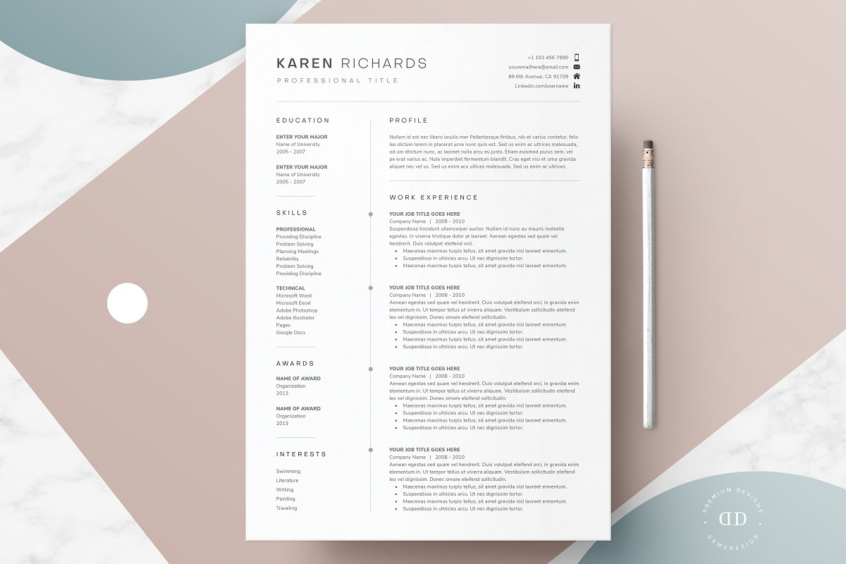 One Page Resume Template ~ Resume Templates ~ Creative Market