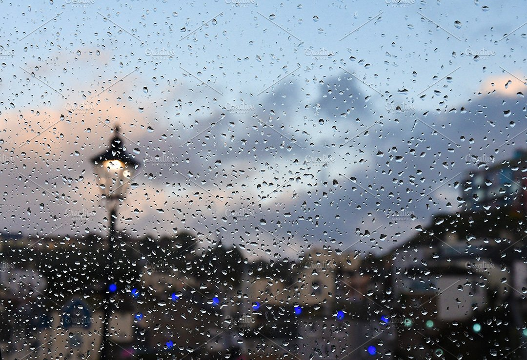 Evening window raindrops | High-Quality Abstract Stock Photos ~ Creative  Market