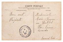 Vintage postcard stamp Used paper