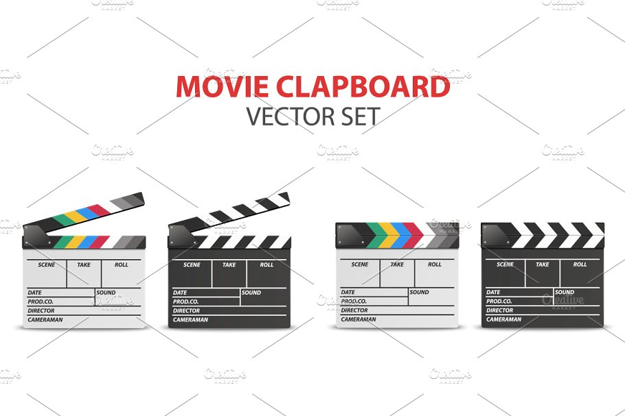 Movie clapboard. Vector set.