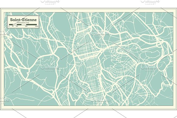 Saint-Etienne France City Map in Illustrations - product preview 7