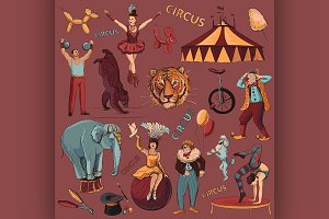 Circus. Collection of hand drawn