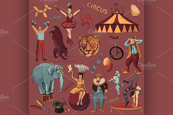 Circus. Collection of hand drawn - Illustrations