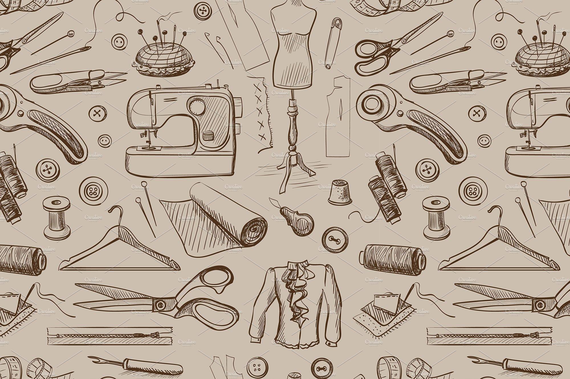 Hand drawn sewing pattern ~ Graphic Patterns ~ Creative Market