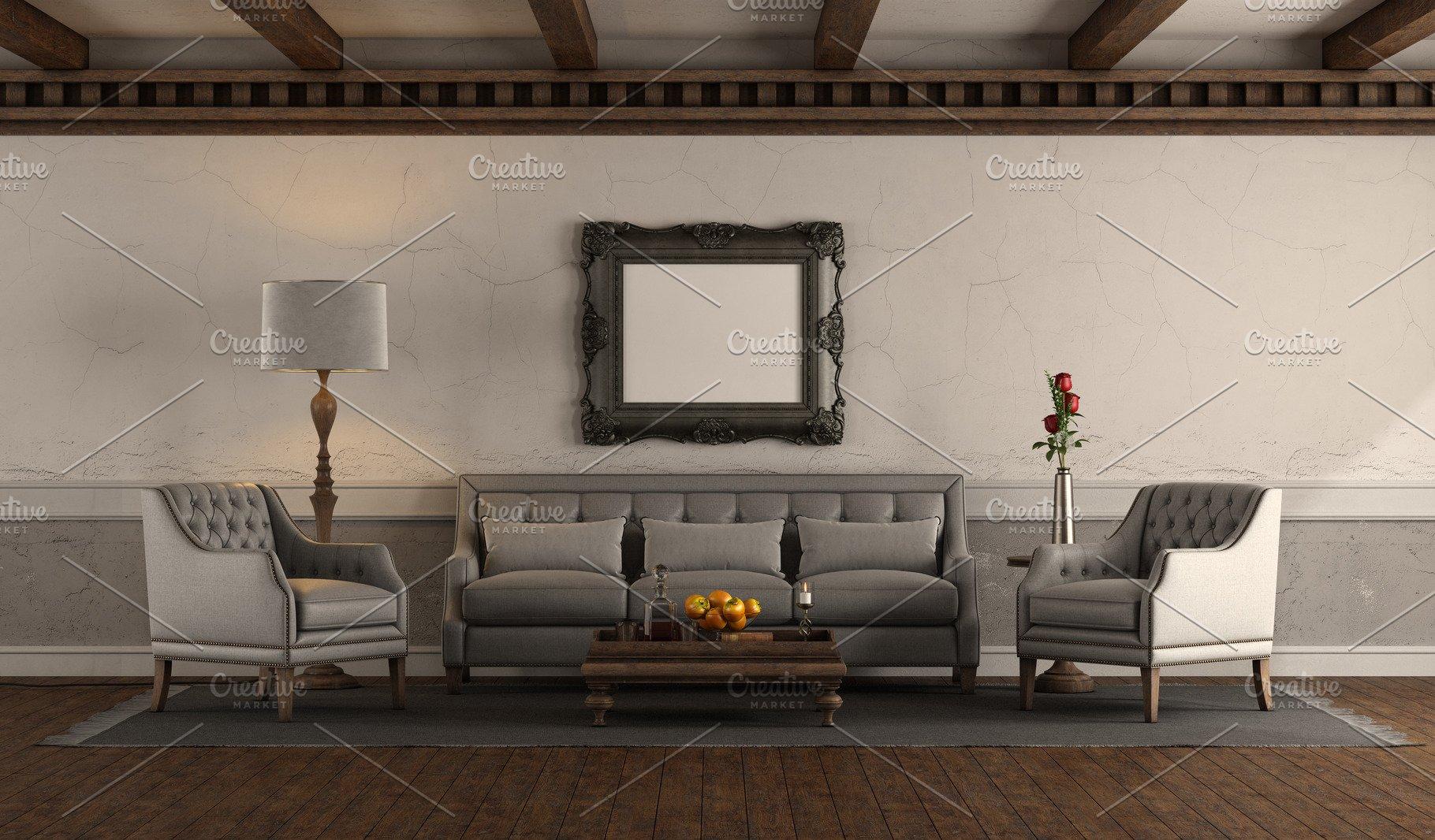 Elegant living room in retro style
