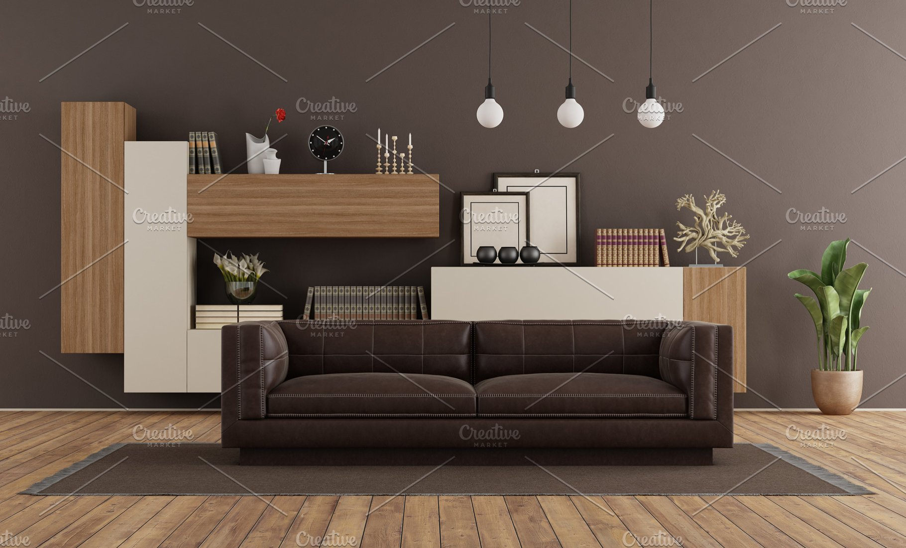 Modern living room with brown sofa a