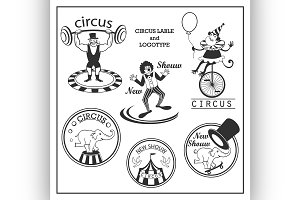 Sketch circus lable and logotype