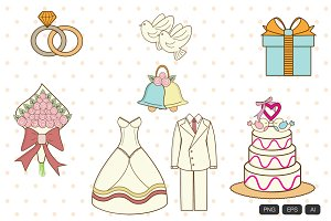 15 Vintage Wedding Vector Icon