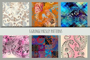 Set of grunge paisley patterns.