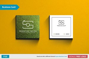 S - Square Business Card Template