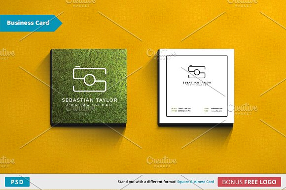 S Square Business Card Template
