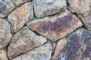 stacked stone wall.