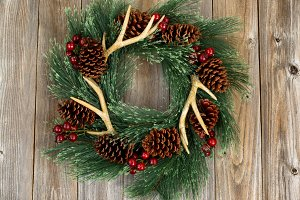 Western Style Wreath on Wood