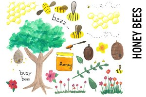 Honey Bees Watercolor Clipart