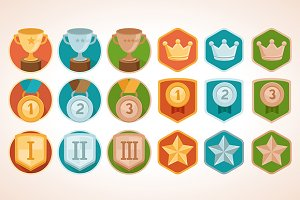 Flat vector achievement badges
