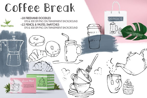 Coffee break handdrawn illustrations