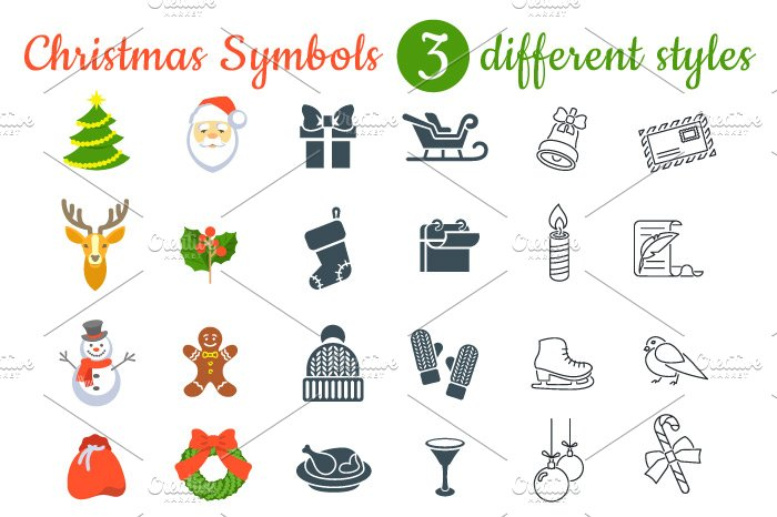 Christmas Symbols Flat Vector Icons Icons Creative Market