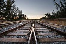 Train rails sunset