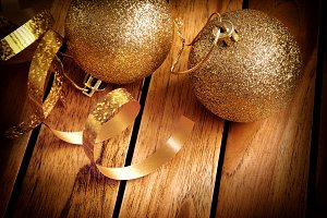 Christmas decor on wooden table top