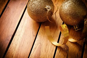 Xmas decoration on wooden table top