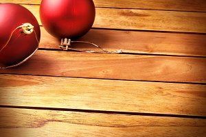 Balls xmas decoration diagonal wood