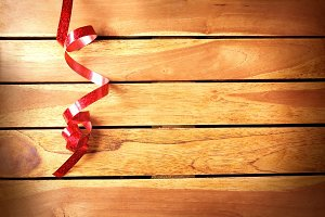 Ribbon festive  on wooden table top