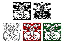 Celtic ornament with wild dogs