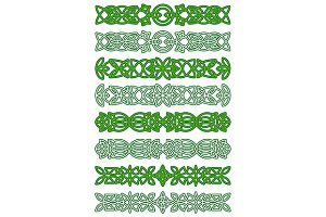 Green celtic ornament elements