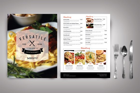 Modern restaurant menu versatile brochure templates