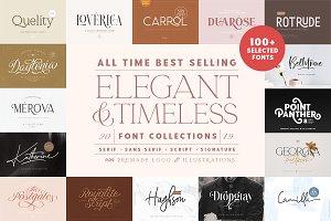 100+ Elegant & Timeless Font Bundle!