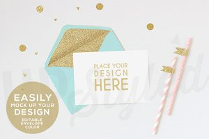A168 Gold Glitter Envelope Mock Up