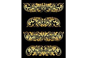 Golden floral elements and embellish