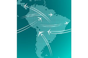 South America map with airplanes