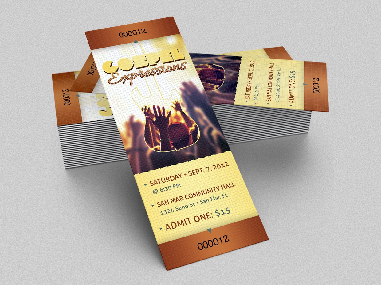 Gospel Concert Ticket Template Templates Creative Market - Event ticket template photoshop