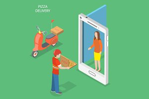 Pizza delivery isometric concept
