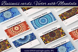 Business cards. Vector with Mandala