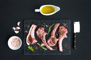 Raw lamb chops