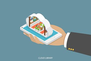 Cloud library flat isometric