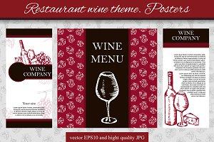 Restaurant wine theme. Posters