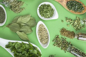 Green herbs and spices