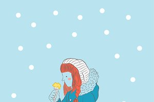 Girl with ice cream in the snow