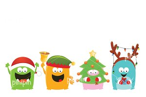 Monsters With Christmas Costumes