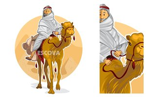 Arabian Bedouin Riding A Camel