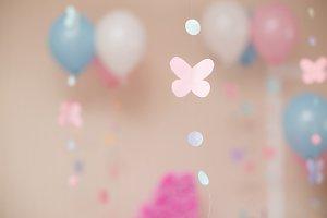 Paper pink butterflies fly