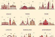Set of 9 Europe cities skylines