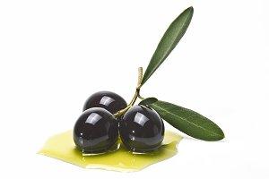 Black olives over white background