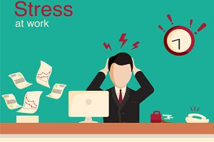New job stress work vector banner