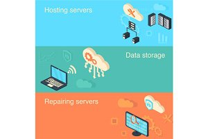 Hosting, Data storage, banners set