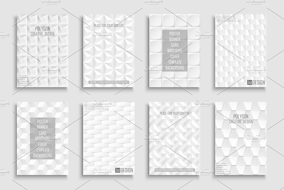 White abstract geometric posters