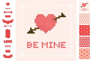 Pixel Valentine's Day set